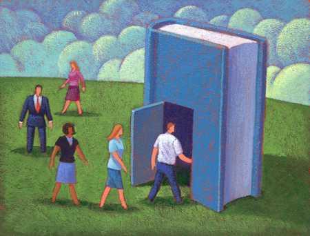 People entering book
