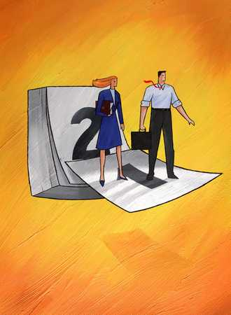 Man and woman standing on the first calendar day