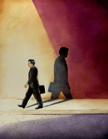 Man Walking Against Shadow