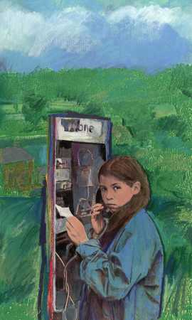 Teenager at phone booth