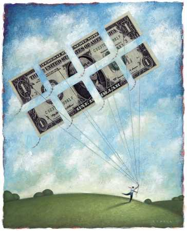 Figure Flying Dollar Kites