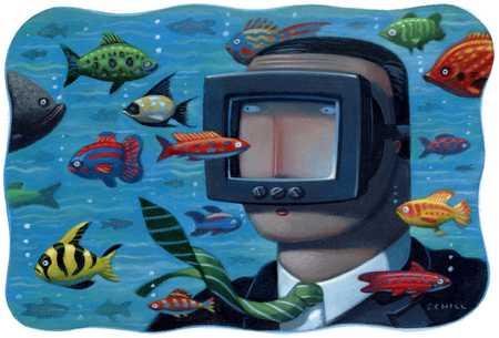 Underwater Businessman Viewing Fish