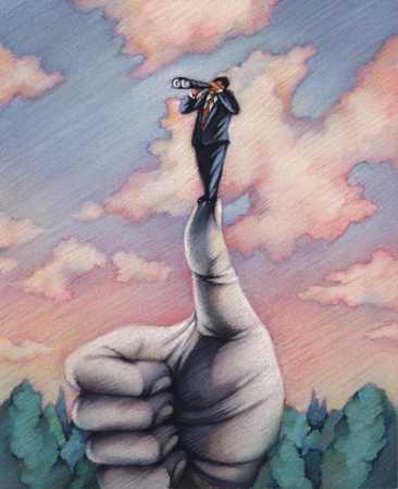 Businessman On Thumbs Up