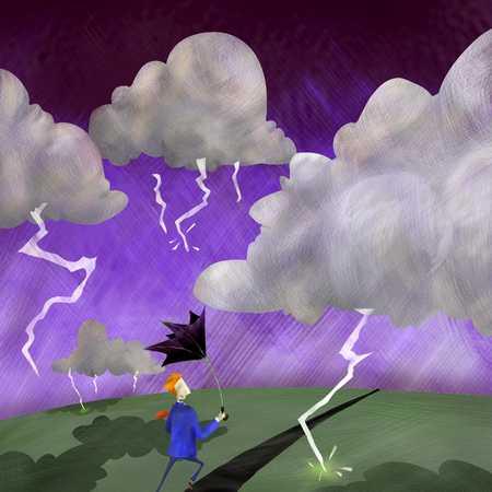 Businesman Braving The Storm