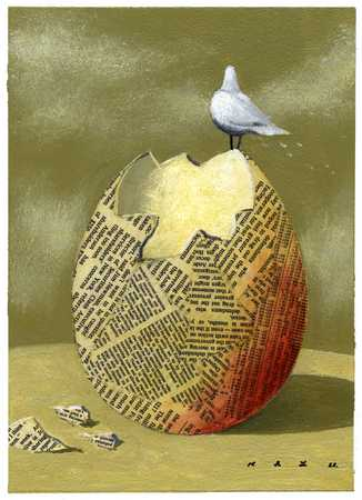 Dove And Newspaper Egg