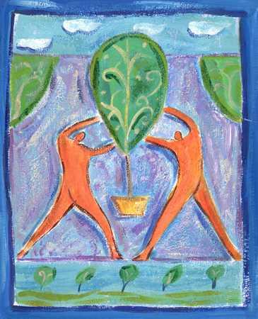 Figures Planting Tree
