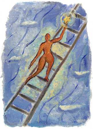 Figure Climbing Ladder In Darkness