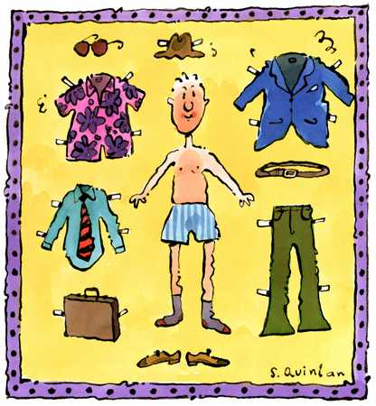Man With Clip-On Wardrobe