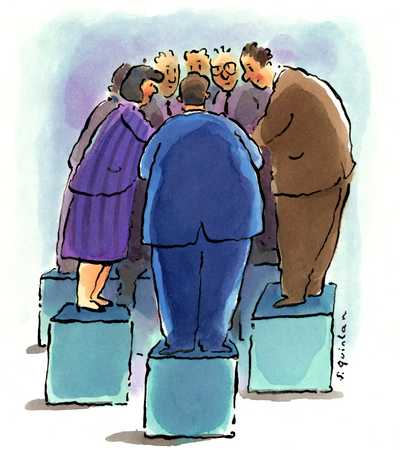 Businesspeople Huddle Together