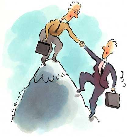 Businessmen On Mountaintop