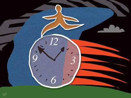 Person Running On Clock