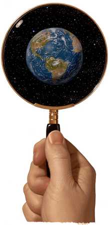 Hand Holding Magnifying Glass/Globe