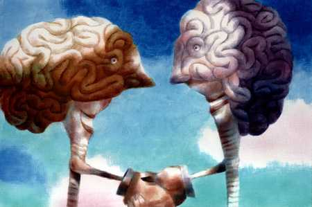 Two Brains Shaking Hands