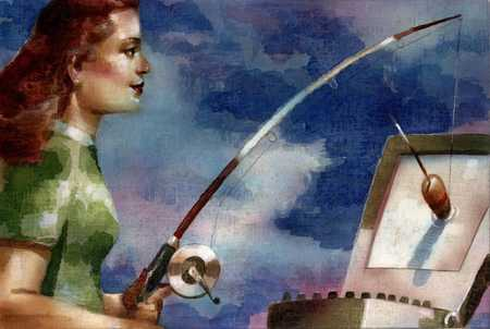 Woman Fishing In Computer