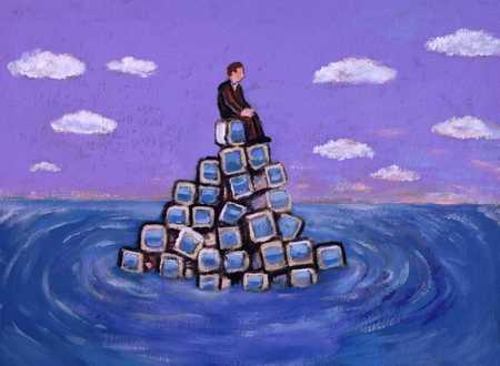 Man On Island Of Computer Monitors