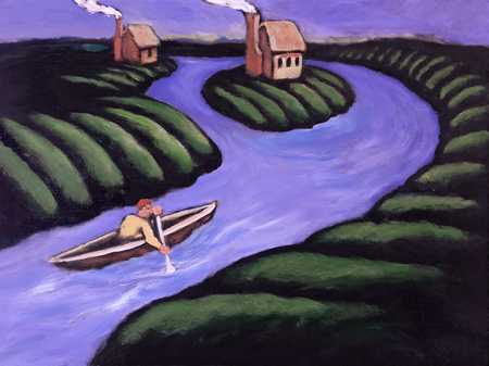 Man In Canoe Traveling Towards Home