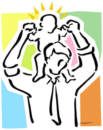 Man Holding Child On Shoulders