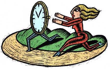 Woman Chasing Clock