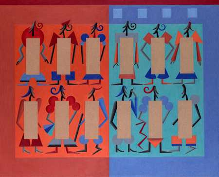 Figures On Multicolored Background