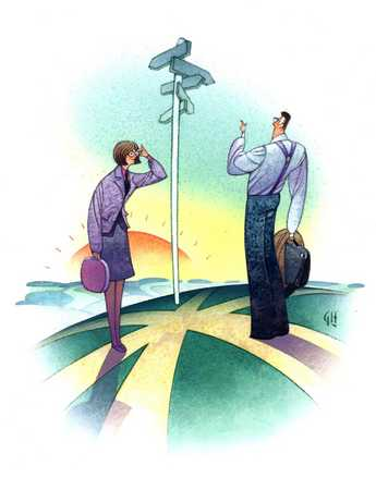 Businesspeople At Crossroads