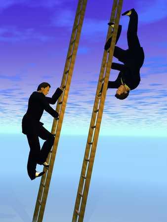 Man Climbing Ladder/ Mirror Image