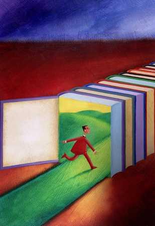 Businessman Running Through Books