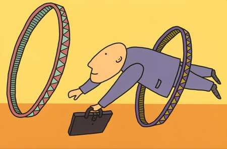 Businessman Jumping Through Hoops