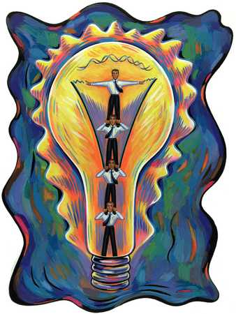 Businessmen In Lightbulb