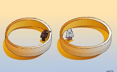 Man with camera inside ring watching couple hiding under sheet inside ring