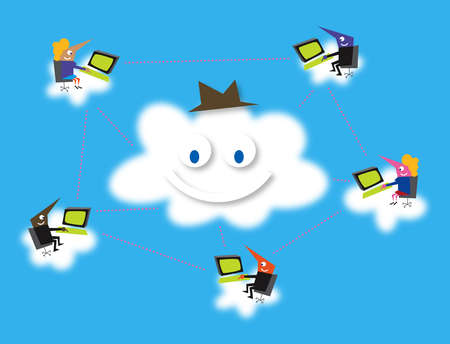 Business people networking on computers around smiling cloud