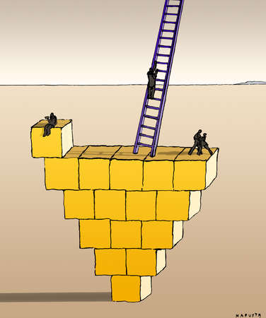 Business people on upside-down pyramid and ladder