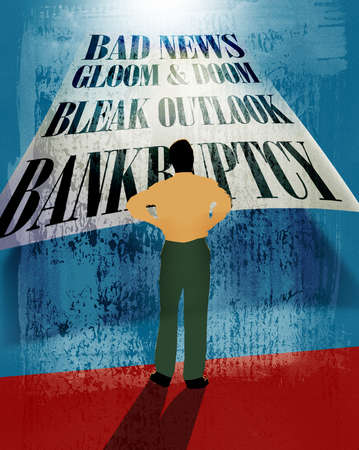 Man looking at bankruptcy text