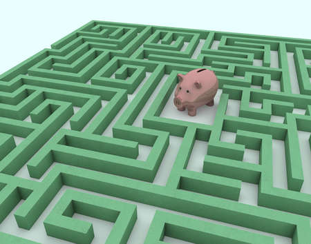 Piggy bank in middle of labyrinth