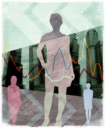 Silhouette of businesswomen with highrise buildings in background