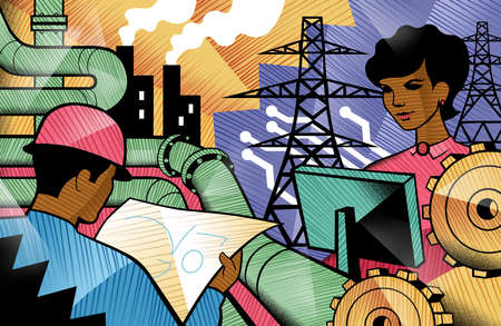 Businesswoman and worker near pipeline, cogs and electricity pylons
