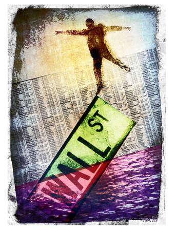 Businessman balancing on sinking 'Wall Street' sign