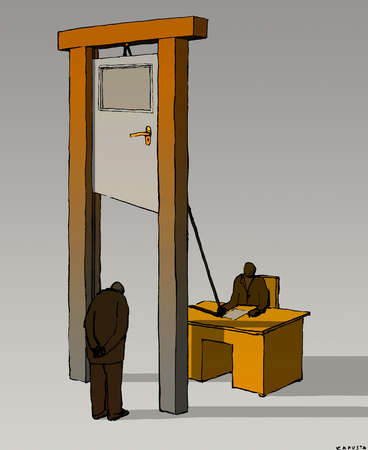 Businessman standing under guillotine