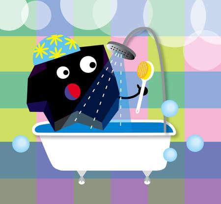 Geometric shape bathing in shower