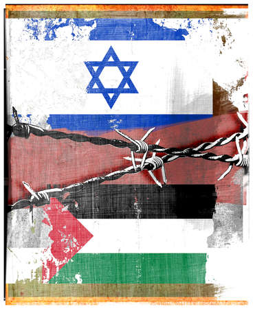 Barbed wire over Israeli and Palestinian flags