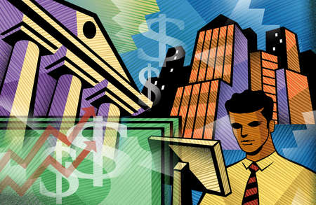 Businessman using computer with money and buildings in background