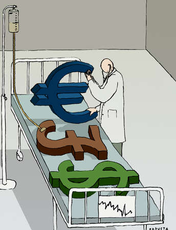 Doctor examining Euro, British Pound and Dollar symbols