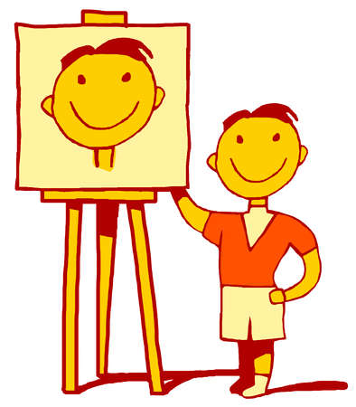 Smiling boy standing next to painting of self