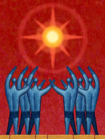 People reaching toward shining sun