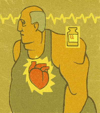 Overweight man's heart and prescription bottle