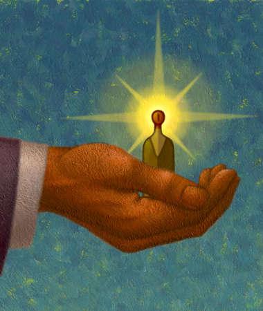 Large hand holding small, illuminated man