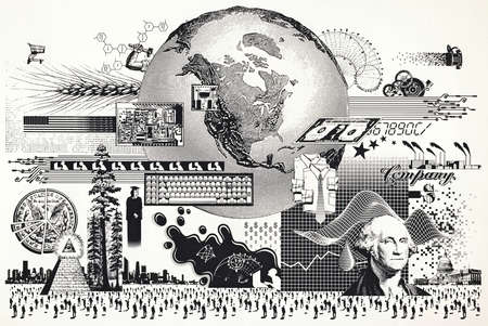 Government, finance, education and industry images surrounding globe