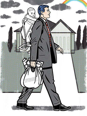 Businessman carrying groceries and baby son on back
