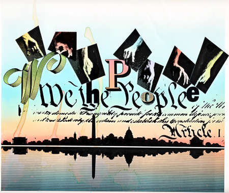 Hands above 'We the People' text