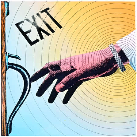 Hand reaching for door handle with 'exit' sign above