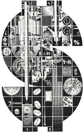 Clocks and finance images forming dollar sign
